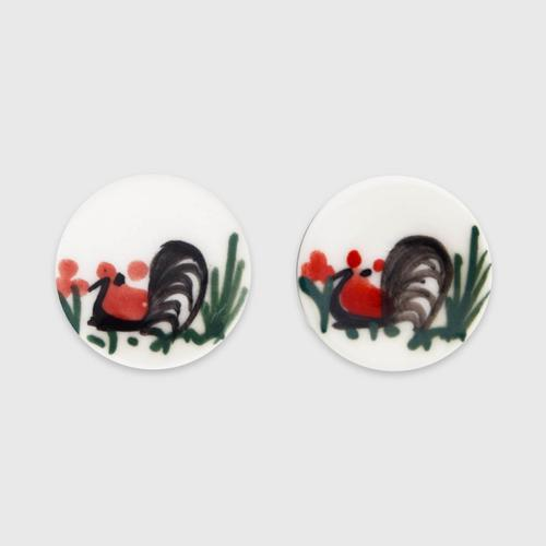 INTHAI陶瓷圆环公鸡墨画耳环
