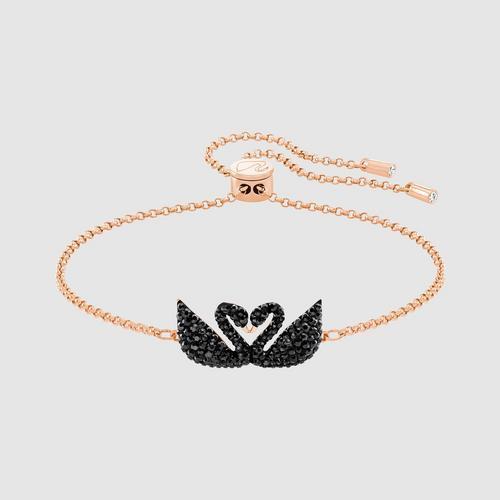【国际品牌】SWAROVSKI施华洛世奇黑水晶双天鹅玫瑰金项链24 cm