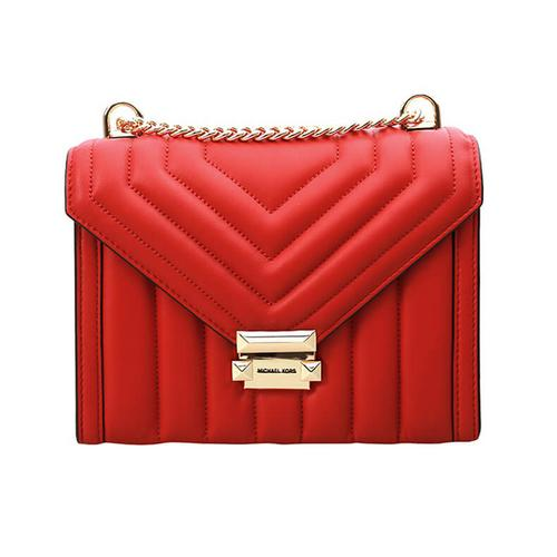 【国际品牌】迈克·科尔斯 MICHAEL KORS2020款女包条纹羊皮链条单肩包斜挎包红色