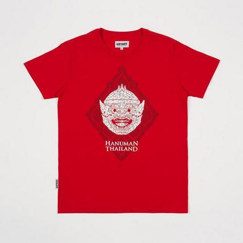 MAHANAKHON S码-烫金哈努曼猴神孙悟空头像红色T恤S