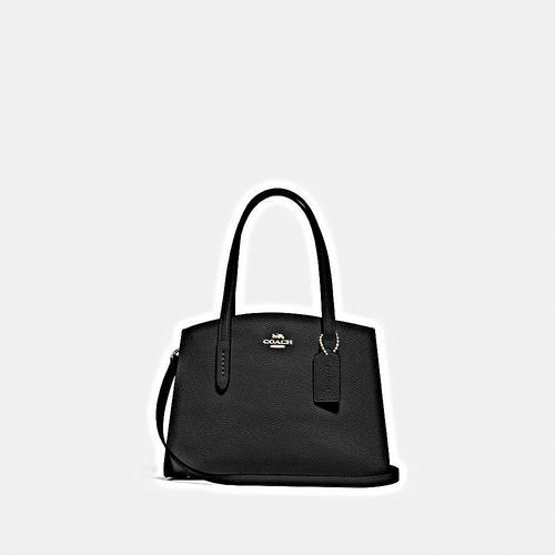 【国际品牌】蔻驰 COACH CHARLIE 28号手提包 黑色 抛光鹅卵石纹皮革 内置多功能袋 中央拉链隔层 垂直长度12.5cm手柄 垂直长度49.5cm可拆卸肩带,可用于肩背或斜挎 28cm (长) x 18.5cm (高) x 11.5cm (宽)