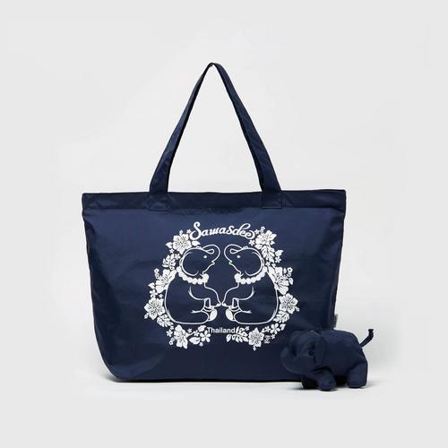 MAHANAKHON 泰式小象深蓝色可折叠环保袋