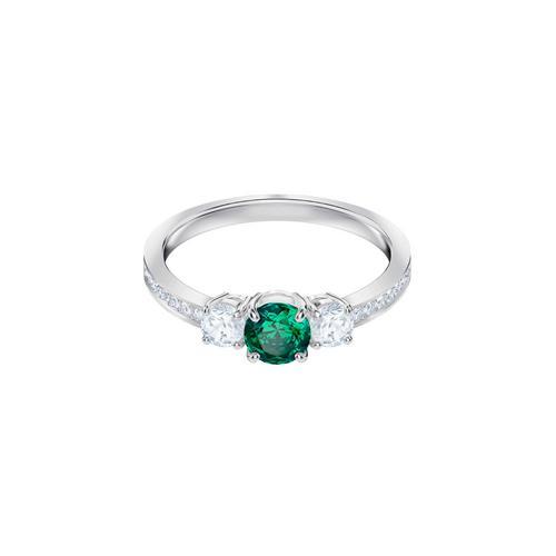 SWAROVSKI施华洛世奇吸引三部曲绿水晶镀铑戒指50号