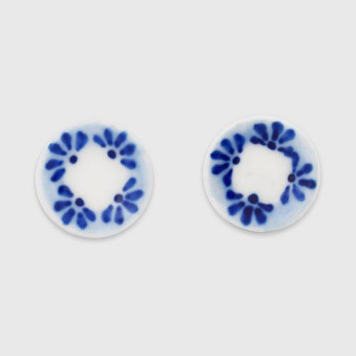 INTHAI陶瓷鸡尾图案耳环