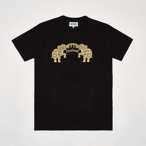 【直邮】MAHANAKHON玛哈那空泰国万岁双象烫金黑色短袖T恤S