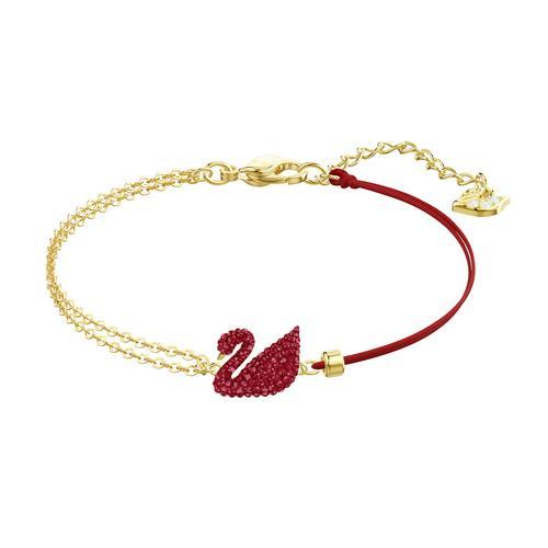 【国际品牌】SWAROVSKI施华洛世奇镀金红色天鹅手链15cm