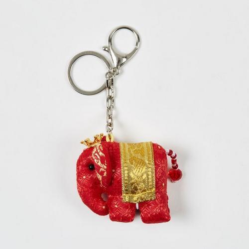 KACHA鲜红泰国刺绣布艺王冠小象钥匙扣