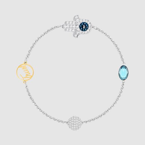 SWAROVSKI施华洛世奇蓝水晶镀玫瑰金手链17.3 cm