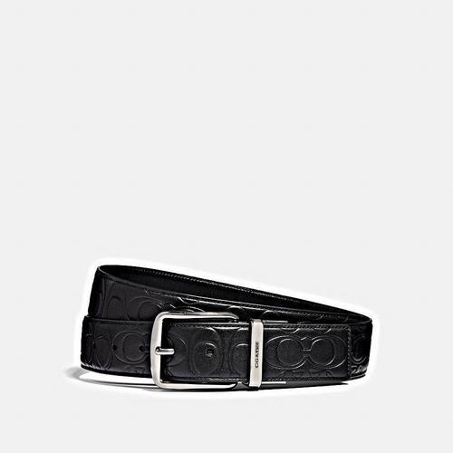 【国际品牌】COACH蔻驰黑色男士经典logo印花皮带38mm