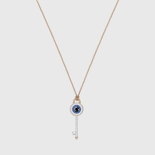 【国际品牌】SWAROVSKI施华洛世奇象征恶魔之眼钥匙镀玫瑰金项链38cm