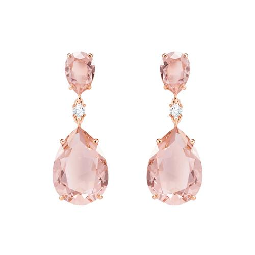 SWAROVSKI施华洛世奇粉红水晶镀玫瑰金耳环3.5cm