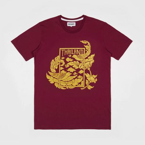 MAHANAKHON玛哈那空泰国神雀酒红烫金短袖T恤S码