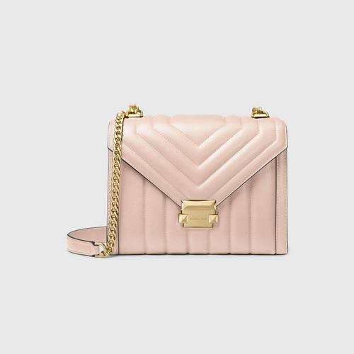 【国际品牌】MK Whitney 大号羊皮绗缝翻盖信封包单肩包女包粉色