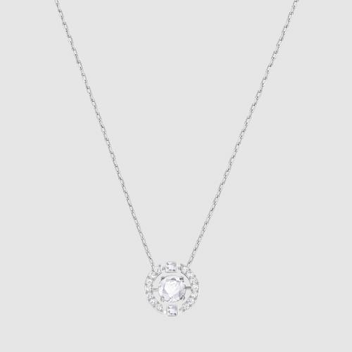 【国际品牌】SWAROVSKI施华洛世奇闪耀之舞圆形白水晶镀铑项链38cm