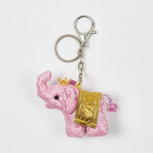 【直邮】KACHA粉红泰国刺绣布艺王冠竖鼻小象钥匙扣