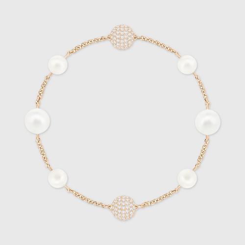 SWAROVSKI施华洛世奇白色水晶珍珠镀玫瑰金手链17.3 cm