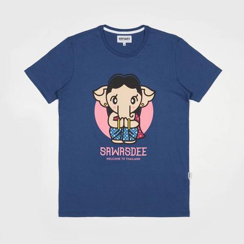 【直邮】MAHANAKHON玛哈那空泰国传统服饰女生小象深蓝色短袖体恤S码