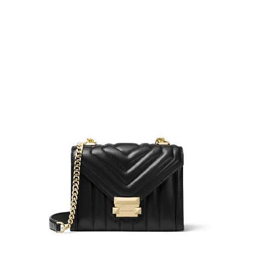 【国际品牌】MK Whitney 小号羊皮绗缝翻盖信封包单肩包女包黑色
