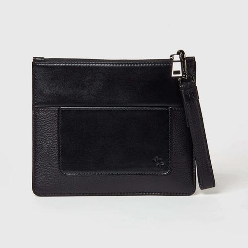 LONGLAI黑色双色牛皮钱包手拿包