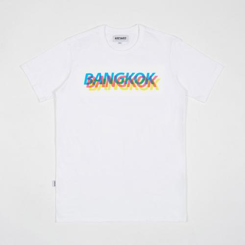 MAHANAKHON玛哈那空幻彩立体曼谷英文图案短袖T恤白色S码