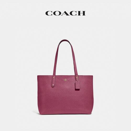 【国际品牌】蔻驰 COACH 奢侈品 女士专柜款大号玫红色皮质手提单肩斜挎包