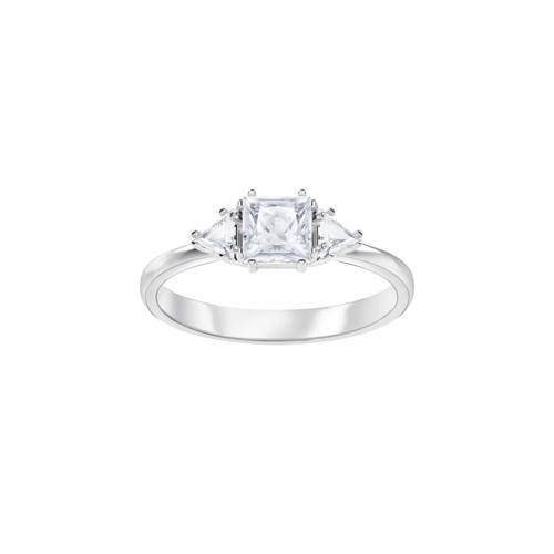 SWAROVSKI施华洛世奇吸引三角水晶镀铑戒指50号