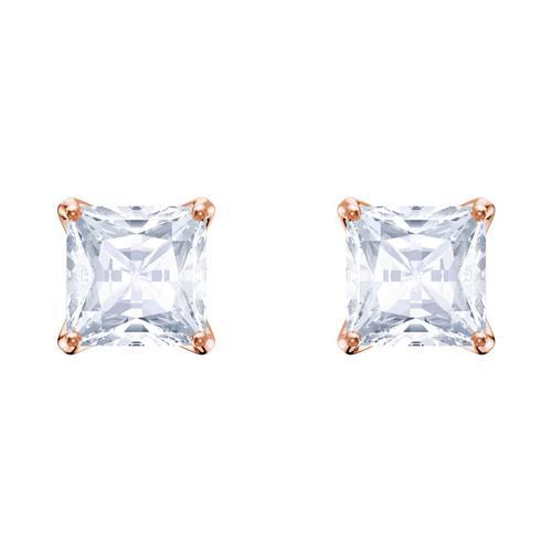 【国际品牌】SWAROVSKI施华洛世奇魅力镀玫瑰金水晶耳环0.5cm