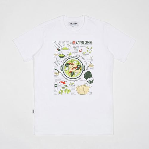 MAHANAKHON玛哈那空泰式美食绿咖喱创意图案短袖T恤白色S码