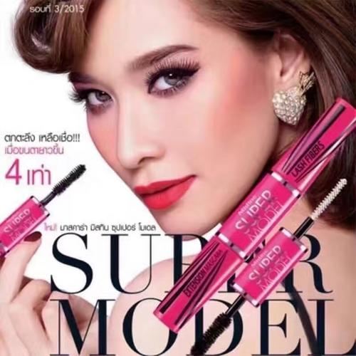 泰国Mistine蜜丝婷SUPER MODEL 4D二合一纤长浓眉双头睫毛膏