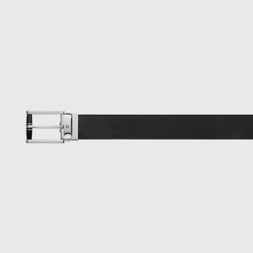 MONTBLANC 万宝龙男士黑色树脂镀钯针扣男士皮带12083.5cm