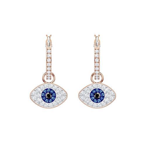 SWAROVSKI施华洛世奇象征恶魔之眼蓝色水晶镀玫瑰金耳环2.5cm