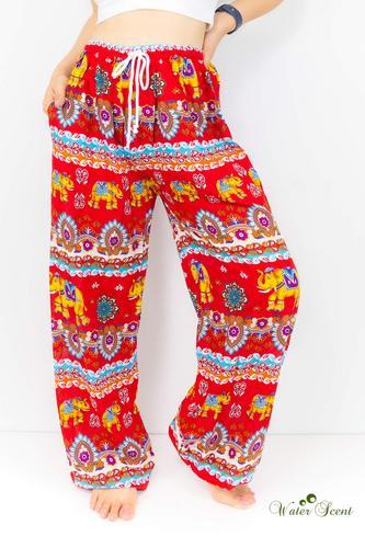 WATER SCENT红色印度大象花纹休闲裤