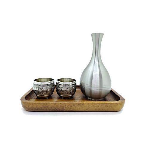 【直邮】BANGKOK PEWTER泰锡制清酒壶杯(带花纹)套装