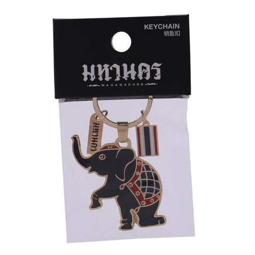KINGPOWER泰国大象单膝跪地表演钥匙扣黑色