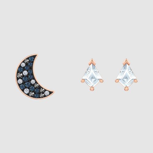 SWAROVSKI施华洛世奇镀玫瑰金月亮星辰组合耳钉