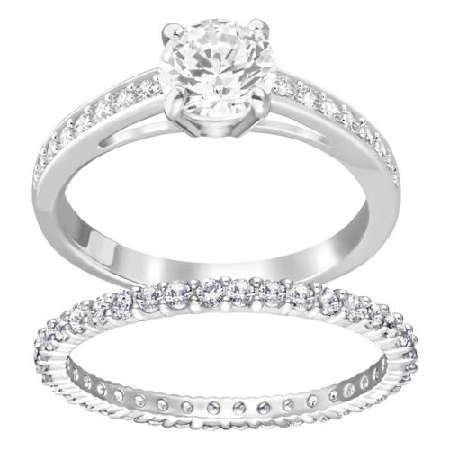 SWAROVSKI施华洛世奇吸引白水晶镀铑戒指50号