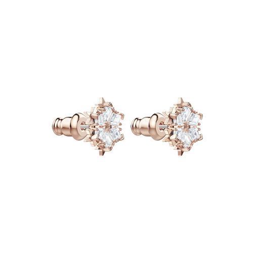 【国际品牌】SWAROVSKI施华洛世奇魔术镀玫瑰金白水晶耳环1cm