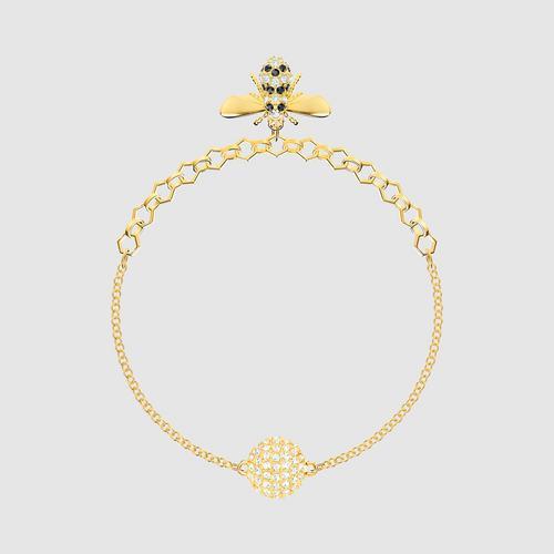 【国际品牌】SWAROVSKI施华洛世奇蜜蜂系列黑金水晶镀金手链17.3 cm