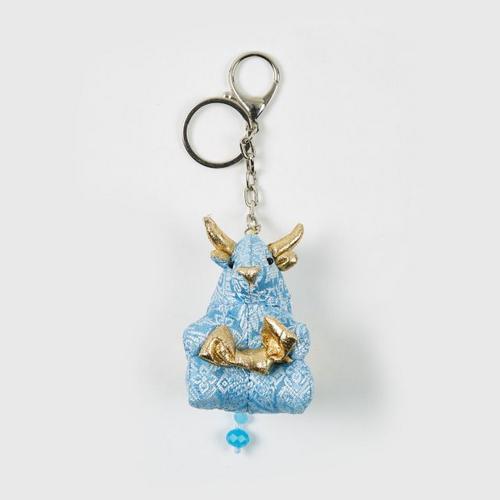 【直邮】KACHA粉蓝泰国刺绣布艺粉蓝牛钥匙扣