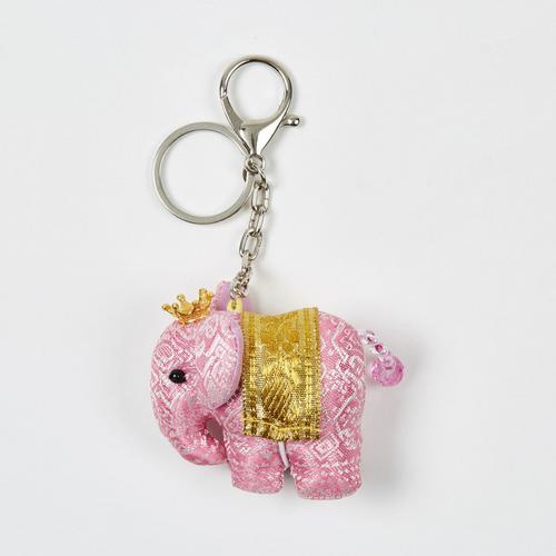 【直邮】KACHA粉红泰国刺绣布艺王冠小象钥匙扣
