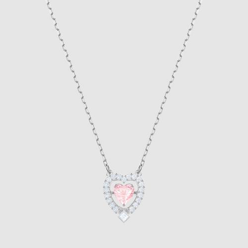 【国际品牌】SWAROVSKI施华洛世奇闪耀之舞粉红爱心镀铑项链38cm