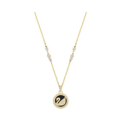 【国际品牌】SWAROVSKI施华洛世奇皮革天鹅标志水晶项链38cm