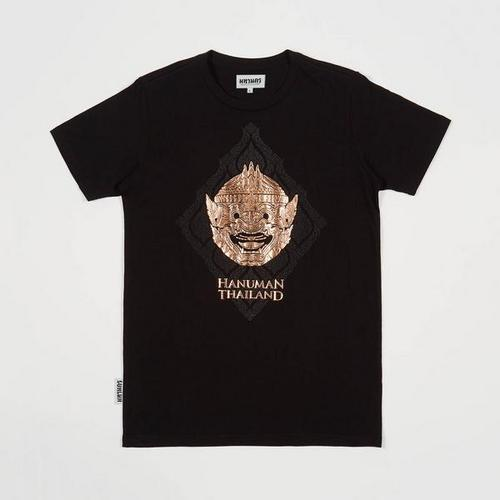 MAHANAKHON 烫金哈努曼猴神孙悟空头像黑色T恤S