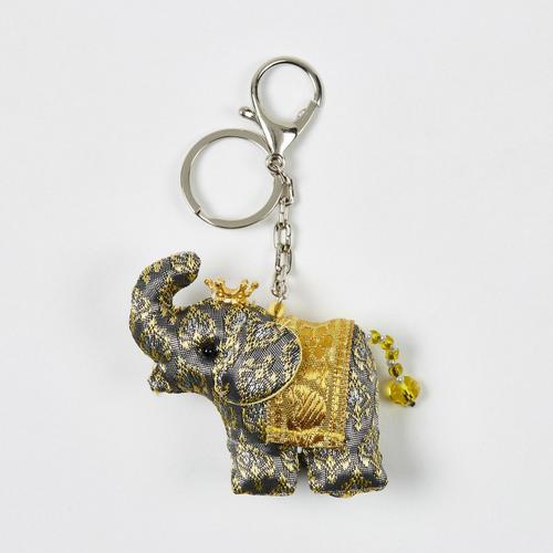 【直邮】KACHA黑金泰国刺绣布艺王冠竖鼻小象钥匙扣